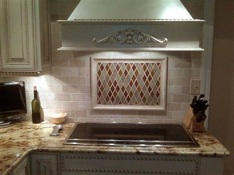 tumbled marble tile backsplash kitchen