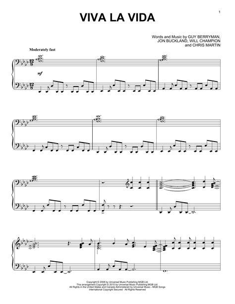 tutorial piano viva la vida viva la vida sheet music by coldplay piano 161919