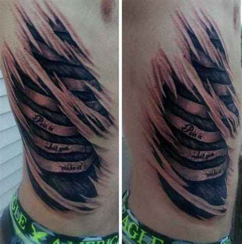 mens rib cage tattoos 50 ripped skin designs for manly torn flesh ink
