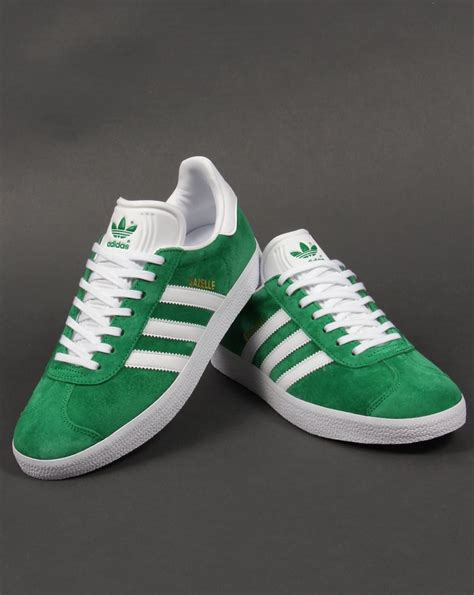 Adidas Green adidas gazelle trainers green white originals shoes mens