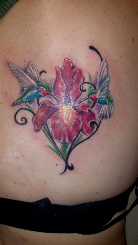 iris tattoos hummingbird flower iris color