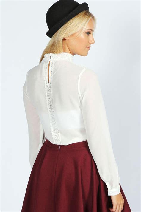 Sleeve High Neck Blouse by Boohoo Layla Sleeve Lace Insert High Neck Blouse Ebay
