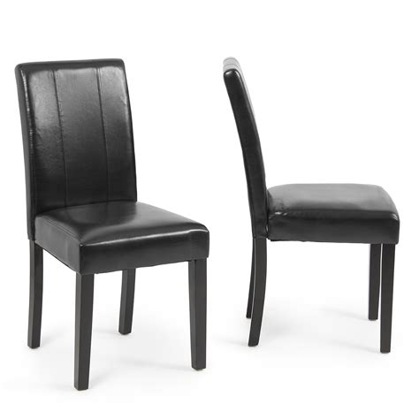 Leather Parsons Dining Room Chairs by Modern Parsons Chair Leather Dining Living Room Chairs Seat Set Of 2