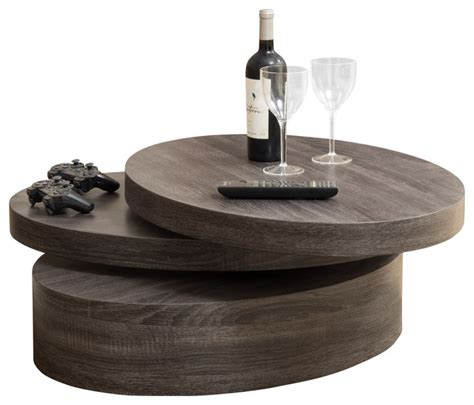lenox oval mod rotating wood coffee table contemporary