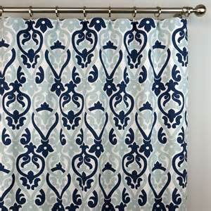 Blue And White Grommet Curtains Navy Blue White Sheffield Quatrefoil Morrocan Curtains