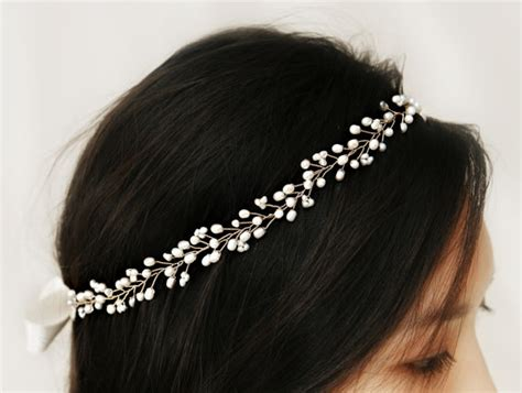 Wedding Hair Accessories Halo by Bohemian Bridal Freshwater Pearl Hair Vine Halo Headpiece
