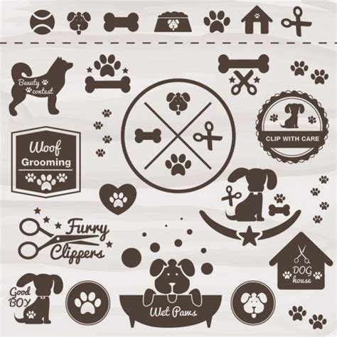 retro style pet icons set vector free download pet grooming icon set vectors cdev