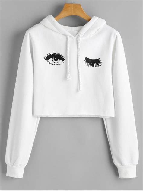 Eye Hoodie by Eye Print Cropped Hoodie White Hoodies Jackets Xl Zaful