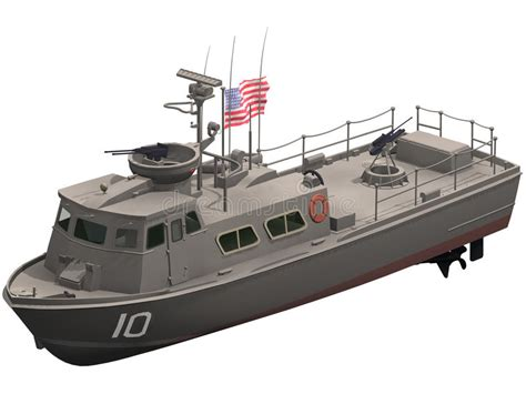 swift boat plans 3d rendering of a swift patrol boat stock illustration