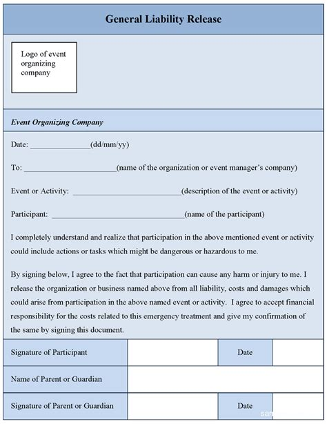 general liability release form free printable documents