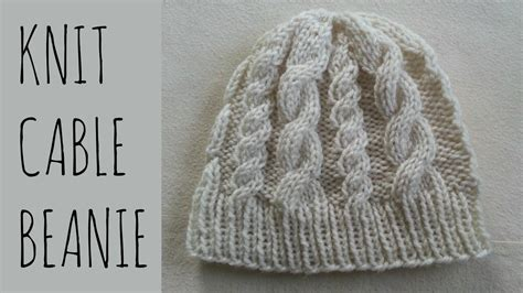 how to knit easy cable beanie easy knit pattern tutorial doovi
