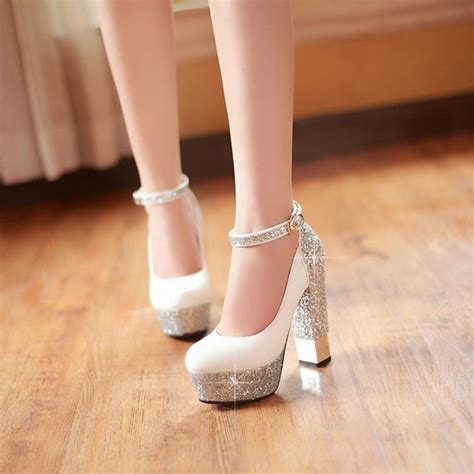 high heels with thick heels 2015 sole ankle high heels sequins thick