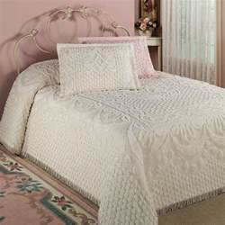 Kingston beige or white chenille bedspreads