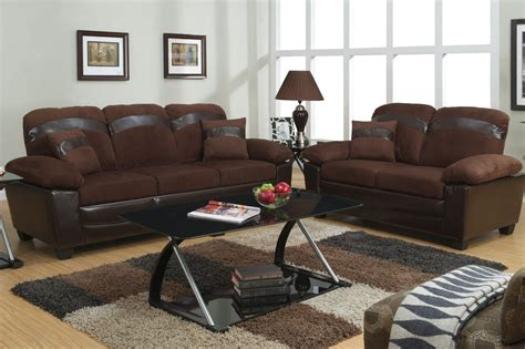 brown sofa and loveseat sets poundex gabe f7572 brown fabric sofa and loveseat set with