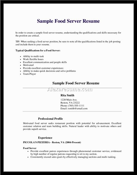 Resume Exles For Waiter Waitress Resume Sle No Experience Document