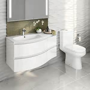 Curved Bathroom Furniture Modern Curved Bathroom Furniture Vanity Unit Wall Hung Coupled Toilet Ebay