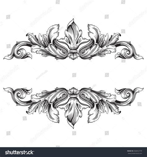 decorative vintage pattern with floral elements vector vintage baroque frame scroll ornament engraving stock