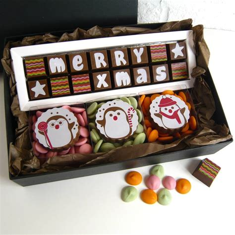 personalised chocolate christmas gift box of penguins by