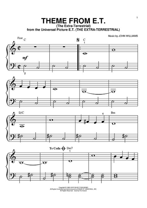 Theme Music Et | theme from e t the extra terrestrial sheet music for