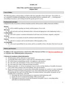 personal code of ethics template personal ethics statement exles template best