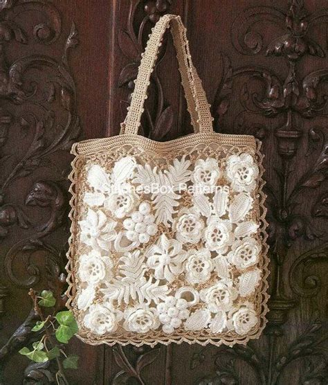 crochet lace bag pattern irish crochet lace flowers handbag bag pdf pattern free