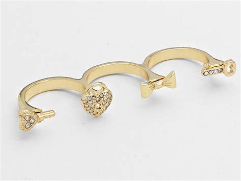 jewel accent bow amp key three finger ring jewel addicts