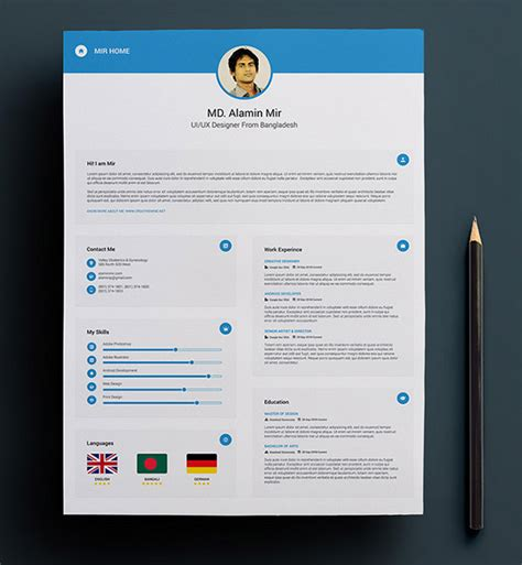 template cv tku card 50 beautiful free resume cv templates in ai indesign