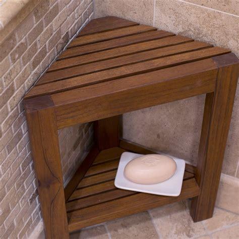 buy cheap belham living corner teak shower bench