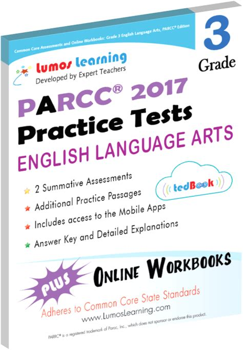 parcc test prep grade 3 language arts literacy ela practice workbook and length assessments parcc study guide books testimonials lumos learning