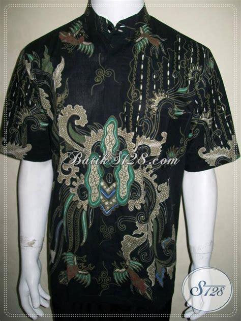 Kemeja Batik Pria Kerah Sanghai baju batik koko pria lengan pendek keren kemeja kerah shanghai warna dasar hitam ld642t l