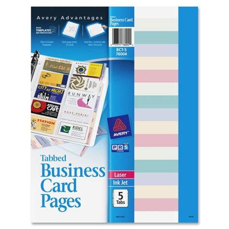 avery business card template pages avery bct 5 non stick tabbed business card holder pages