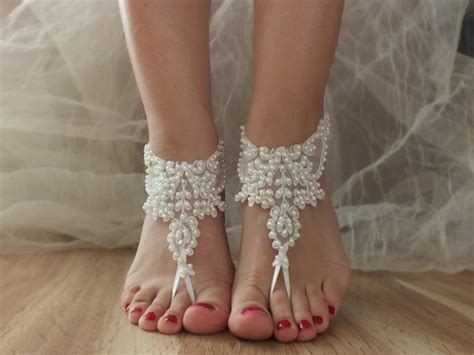 Barefoot Sandals, Ivory Beach Shoes, Bridal Sandals