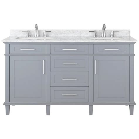 Home Decorators Bathroom Home Decorators Collection Sonoma 60 In W X 22 In D Bath Vanity In Pebble Grey With
