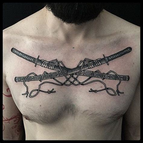 crossed swords tattoo black ink engraving style chest of crossed samurai