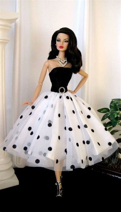 design of doll fashion doll in white polkha dots barbies pinterest