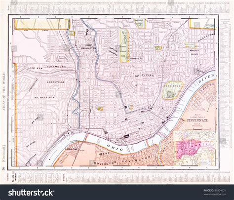 map of usa cincinnati map cincinnati ohio usa spoffords atlas stock photo