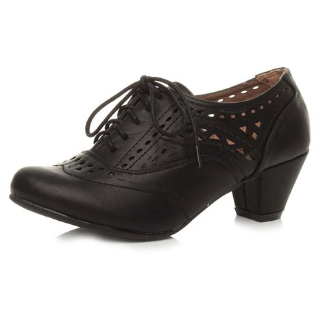 womens block mid heel lace up cut out brogue