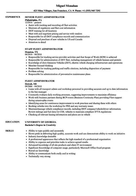 Fleet Administrator Sle Resume by Fleet Administrator Resume Sles Velvet