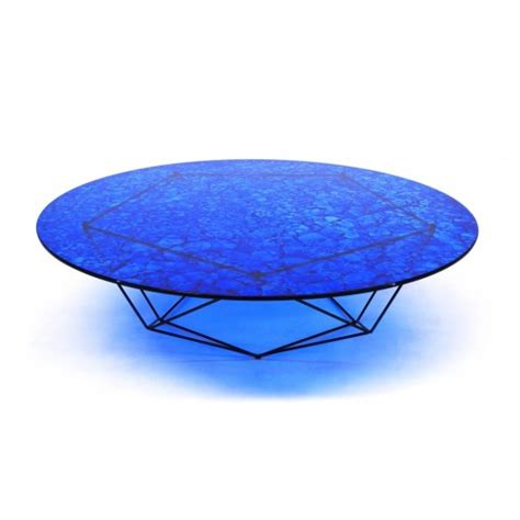 bright blue glass coffee table