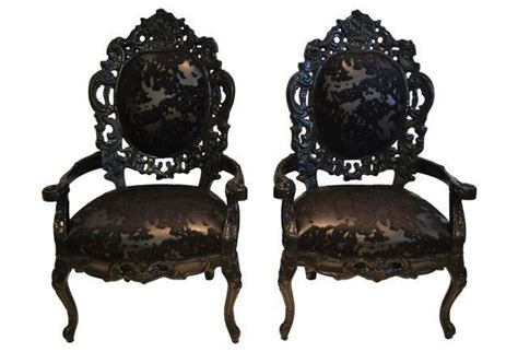 Faux Cowhide Furniture - black lacquer faux cowhide chairs pair glam