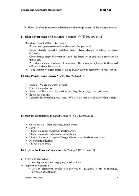 Mba Change Management by Mba Iv Change Knowledge Management 10 Mba41 Solution