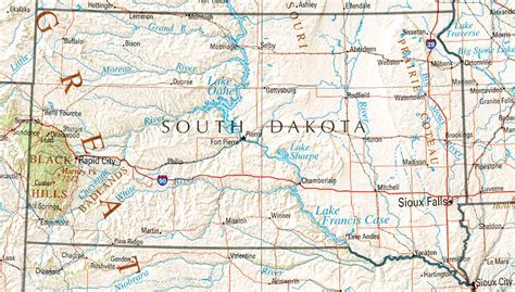 dakota road map with cities south dakota reference map