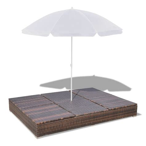 Sun Bed luxury outdoor rattan sun bed 2 persons with parasol brown vidaxl
