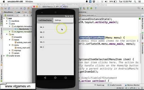android studio options menu tutorial android options menu overflow menus youtube