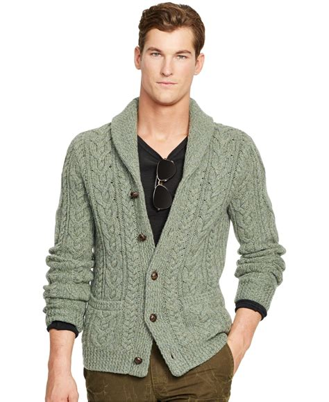Cardigan Polos Polo Ralph Wool Cable Knit Cardigan In Green For