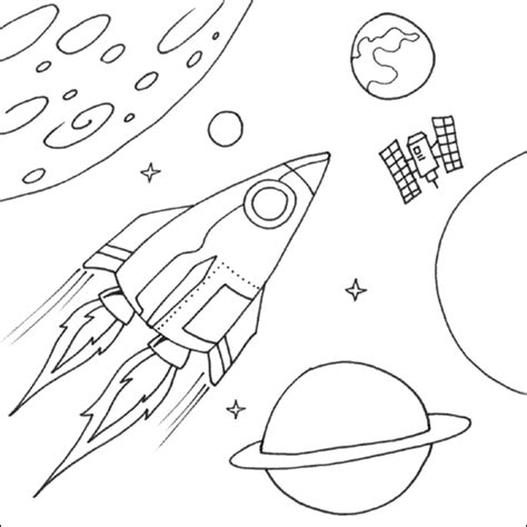 coloring pages outer space free space rocket printable