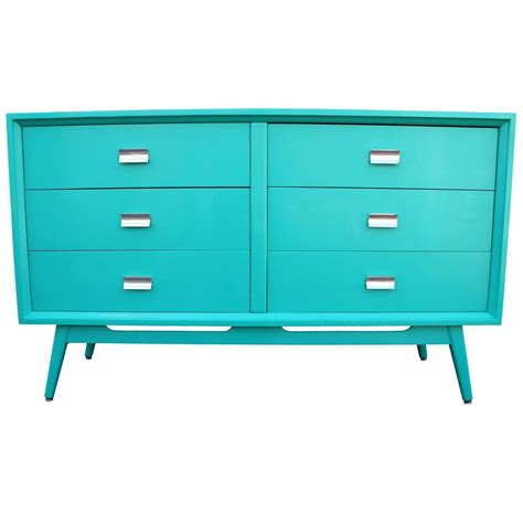 Turquoise Dresser For Sale by Striking Turquoise Lacquered Dresser With Chrome Hardware