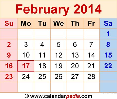 printable calendar 2014 february feb 2014 calendar printable large calendar template 2016