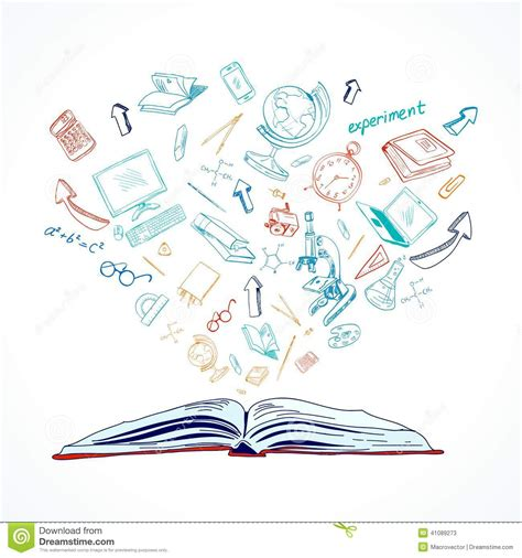 doodle drawing illustrator open book education concept doodle stock vector image