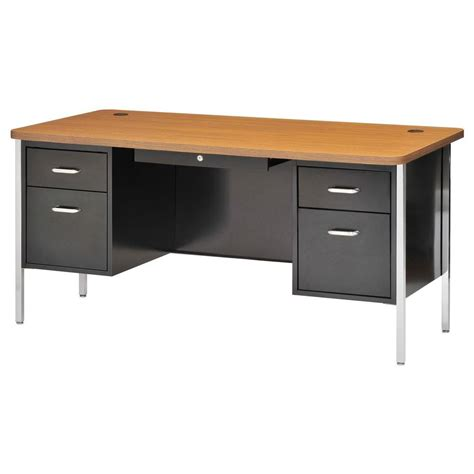 home depot desk l sandusky 600 series double pedestal steel desk in black